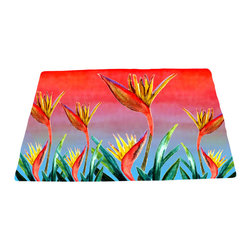 xmarc - Garden Area Plush Area Rugs From Original Art, Bird Of Paradise, 96 X 48 - Bird of paradise garden area plush area rugs from original art. Tree frogs, dragonflies, flowers, lady bug, butterflies.