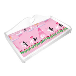"""Room Magic - Poodles in Paris Changing Pad Cover - Coordinating Changing Pad Cover of the finest 100% Cotton poplin. Fits standard size changing pads, 32""""w x 16""""D x 4"""" H"""