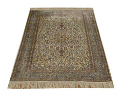 Pure Silk Light Colors Hand Knotted 3'x5' Fine Tabriz 600 kpsi Rug SH14802 - This collection consists of fine knotted rugs.  The knots per square inch means more material in the rug as well as more labor.  This leads to a finer rug and a more expoensive rug.  Classical and traditional persian motifs are usually used as designs in these rugs.