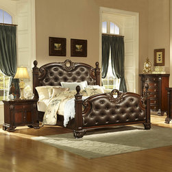 Homelegance - Homelegance Orleans 3 Piece Poster Bedroom Set in Rich Cherry - The grandeur of Old World Europe is flawlessly executed in the Orleans Collection. Acanthus leaf carvings feature prominently and blend with elegantly appointed moldings on each piece of this stately bedroom. Wreath accents lend dramatic flair to the bed and mirror as does the sculpted lion's foot base, supporting each of the case pieces. Heavy pilasters rise with and are topped with carved finials on the tufted dark brown bonded leather headboard and footboard. A rich cherry finish with goldKitchen & Dining/Kitchen Textiles0Kitchen & Dining/Kitchen  - 2168K-UPSB-3-SET.  Product features: Grandeur of Old World Europe; Ornate Style; Sculpted lion's foot base; Four Poster Bed; Dark brown bonded leather headboard and footboard; Rich Cherry finish; Gold tipping completes; Available in California King, Eastern King and Queen sizes. Product includes: Poster Bed (1); Nightstand (1); Chest (1). 3 Piece Poster Bedroom Set in Rich Cherry belongs to Orleans Collection by Homelegance.