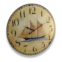 Zeckos - Nautical Sailing Schooner Wall Clock Antique Finish 22.5 In. - This wooden wall clock complements nautical decor beautifully. It features neutral tones and a detailed sketch with measurements for a 200 foot schooner in the center, encircled by large, easy-to-read numbers. The clock measures 22 1/2 inches in diameter, contains a quartz movement, and runs on a AA battery (not included). It looks great in rooms with tall ceilings, and it makes a lovely gift for friends and family.
