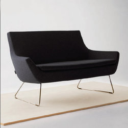 Rebecca Love Seat by sohoConcept - Sleek modern lines with gentle curves, the Rebecca Loveseat is stunning in its simplicity. Set atop a sturdy chromed steel wire base, this little sofa would be a stylish addition to any modern small space.