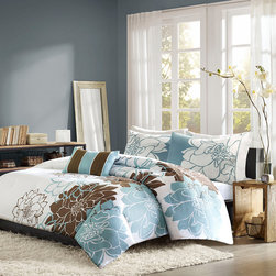 Home Essence - Home Essence Chloe 4 Piece Duvet Cover Set - Chloe is the perfect solution to for an updated, modern print look. This duvet cover collection features an overscaled floral print design printed on cotton fabric for a super soft hand feel. The reverse is a soft blue color that coordinates back to the brown, white and blue from the face. duvet & Sham: 100% cotton 200TC sateen printed on face, 180TC cross weavebacking, 270g/m2 poly fill; Pillow: 180TC cotton cross weave cover and poly filling.