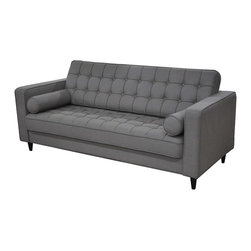 Moe's Home Collection - Moes Home Romano Sofa in Light Grey - Transitional style. Tufted back and seat