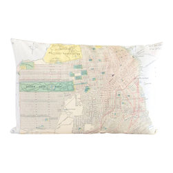 Poetic Pillow - Antique San Francisco Map Pillow - Transform any space with a pillow from Poetic Pillow. Each pillow is inspired by fine works of art and printed on the front and back.   Covers are made of pre-shrunk satin-like polyester fabric. All seams are finished to prevent fraying and pillow covers have a knife edge finish.. A concealed zipper allows for ease of inputting pillow inserts.  A duck feather insert is included for soft yet supportive feel.  Cushion inserts are encased in a cotton cover and filled with 100% duck feather.  All research, design and packaging is completed in Oakland, California.