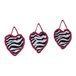 Sweet Jojo Designs - Pink Zebra Wall Decor - The Pink Zebra Wall Decor by Jojo Design include 3 wall hangings that will add a designers touch to any childs room! These childrens wall hangings are handcrafted with care and will brighten any childs room or nursery.