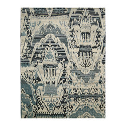 Showroom Products - This magnificent collection is the perfect epitome of refined taste and luxury. The rugs are handmade of pure wool and features breathtakingly intricate Ikat patterns in unusual hues and tones. Fresh in design and concept, these rugs are a perfect way to make a statement and add an element of culture and sophistication to your interiors. Hand knotted in India. Available in standard sizes up to 12 x 15.