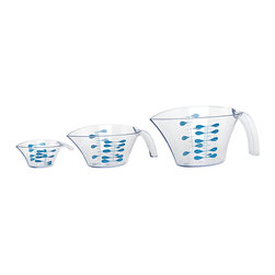 Trudeau - Measuring Cup Set - Calibrated inside and out, these measuring cups are BPA-free and resistant to high heat. They make short and easy work of cooking.   Includes three measuring cups 4'' W x 9'' H x 4.4'' D SAN Dishwasher safe Imported