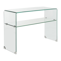 Safavieh - Hollis Console Table - Whether placed below a flat screen TV or adorned with accessories in an entry hall, the sculptural form of the Hollis console table appears to float in a room.  Crafted of clear tempered glass, this minimalist design has a shelf for remotes or magazines.