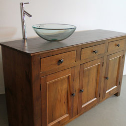 Bathroom Vanity - Reclaimed wood Bathroom Vanities are beautifully classic and durable pieces. These pieces can be customized to look sleek or rustic but always are casually elegant. www.lakeandmountainhome.com 978-505-3222
