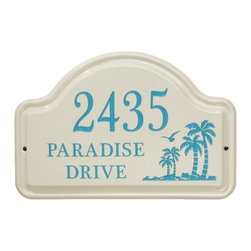 Palm Ceramic Address Plaque - Crafted of beautiful ceramic with a Bisque finish, the Palm Address Plaque distinguishes your home from others and conveys your love of beach life.