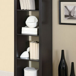 Monarch - Cappuccino Hollow-Core 63in.H Room Divider Bookcase - This cool contemporary bookcase will make a bold addition to your home office or living room. The unique asymmetrical step style of this cube shelving unit features clean sharp lines, in a rich dark finish that will really make a statement. Add books, pictures, and decorative accent items on the top of the piece and on its four shelves for a one-of-a-kind look with real personality. This open bookcase is the perfect choice for your contemporary home.