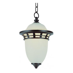 Joshua Marshal - One Light Frosted Glass Bronze Outdoor Pendant - One Light Frosted Glass Bronze Outdoor Pendant