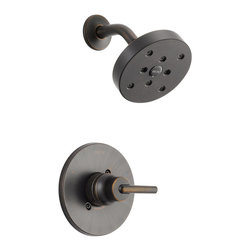 Delta - Delta T14259-RB Trinsic 14 Series MultiChoice Shower Trim (Venetian Bronze) - Delta T14259-RB Trinsic 14 Series MultiChoice Shower Trim (Venetian Bronze). The Delta T14259-RB is part of the Trinsic Series. This shower trim features a pressure balanced single-handle mixing valve, a field adjustable hot water zone limit, and a solid brass forged body. It comes with a lever volume and temperature control handle, a single-function H2OKinetic Technology showerhead, and a dramatic, Venetian Bronze finish. This valve trim requires an R10000 Multi-Choice rough valve body (sold separately).