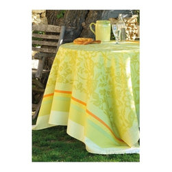 "Le Jacquard Francais - Le Jacquard Francais Provence Lemon Green Tablecloth 69 x 126 "" - From dawn, the first golden rays filter through the blinds to illuminate a day filled with moments of joy beneath olive trees. Provence is infused with the spirit of a tamed yet natural world. A simple Matisse-style floral design mixes with bold and refined woven designs or Indian patterns over stripes. Damask fabric100% Pure cotton colored warp and weft."