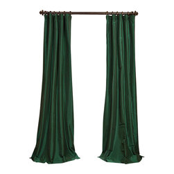"""Exclusive Fabrics & Furnishings, LLC - Emerald Green Faux Silk Taffeta Curtain - 56% Nylon & 44% Polyester. 3"""" Pole Pocket with Hook Belt. Lined. Interlined. Imported. Weighted Hem. Dry Clean Only. SOLD PER PANEL."""