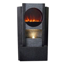 Ultra Fire Modern 36-Inch-H Outdoor LED Fireplace Fountain -