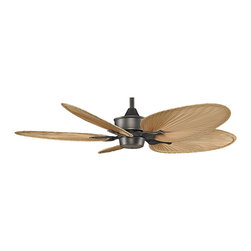 """Fanimation - Tropical 52"""" Fanimation Islander™ Bronze Accent Ceiling Fan - The unique styling of the Islander ceiling fan by Fanimation brings the feel of the tropics to your home. This 52"""" fan is finished in bronze accent motor with natural palm leaf narrow oval blades. It has a 20 degree blade pitch High efficiency DC motor with reversible air flow 3-speed full function remote control and a limited lifetime motor warranty. 6"""" downrod included. (ON UM)  Bronze accent motor finish.  Natural palm leaf narrow oval blades.  High efficiency DC Motor (consumes up to 70% less energy).   Limited lifetime motor warranty.   Full function remote control included.   UL listed for ENERGY STAR®.   Fan height 14 3/4"""" ceiling to blade (with 6"""" downrod).   6"""" downrod included.   Canopy 5 3/4"""" wide.   52"""" blade span.  20 degree blade pitch."""