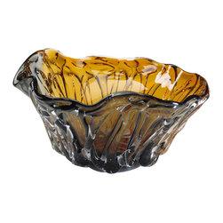 Cyan Design - Duo Art Glass Bowl - Duo art glass bowl - amber and smoked