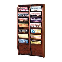 Wooden Mallet - Oak Wall Mount Magazine Rack w Fourteen Pocke - Finish: Dark Red MahoganyPre-drilled with hardware included for simple wall mounting. Furniture quality construction with solid oak sides sealed in a durable state-of-the-art finish. Pictured in Dark Red Mahogany. No assembly required. 3.75 in. D x 20.5 in. W x 36 in. H (19 lbs.). 1-Year warrantyWooden Mallet's wall mount magazine racks offer warmth and style when displaying magazines in your lobby. Our unique overlapping design neatly displays and organizes magazines and literature, keeping them tidy and visible in the least amount of space.