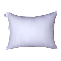 None - Damask Stripe Soft Density Goose Down Pillow - Treat yourself to a good night's sleep with the soft density goose down pillow perfect for stomach sleepers. Machine washable for easy care,this goose down pillow features a fine German milled fabric in a stunning damask stripe design.