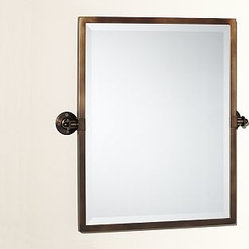 Kensington pivot mirror rectangle antique bronze finish - Bathroom mirror mounting hardware ...