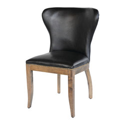 Four Hands - Richmond Dining Chair, Old Saddle Black/Weathered Oak - Inspired by pieces found in libraries of the wealthy at the turn of the last century, this chair pairs timeless elegance with classic design. The curved back and nailhead-trimmed seat are covered in the finest top-grain aniline-dyed leather, giving this chair the comfort and stature its provenance demands.