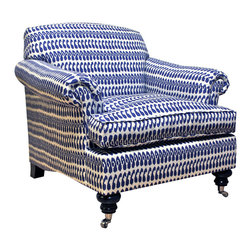 Joplin Chair - I love how this chair pairs traditional casters with a bold block-printed fabric.