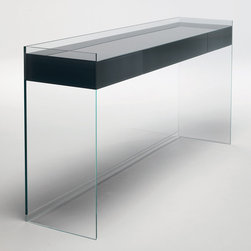 Glas Italia - Glas Italia Float Glass Console - A glass console made with extralight transparent glass. The drawers featuring a pressure opening system, are made in birch and are covered on the outside with tempered glass lacquered in different colors. The bottom of the drawers is in glass in the same finish as the outside. Available in two sizes. Price includes shipping to the USA. Manufactured by Glas Italia.