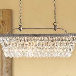 Clarissa Glass Drop Extra-Long Rectangular Chandelier