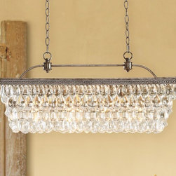 Clarissa Glass Drop Extra-Long Rectangular Chandelier - This sparkly chandelier is versatile enough to hang in a rustic or glamorous dining space.