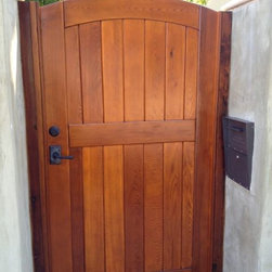 Signature Side Gate with Jambs, Leverset, Deadbolt - Signature Garden Gate with a leverset and deadbolt.  Clear-grade, kiln-dried Western Red Cedar with a clear stain for protection.