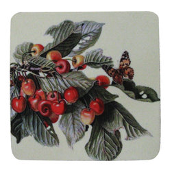 Golden Hill Studio - Cherry Branch/Butterfly Coaster, Set of 4 - This is a wonderful antique print on a super absorbent neoprene coaster.  Made, printed and assembled in the USA!