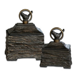 Uttermost - Birdie Metallic Gray Boxes, Set of 2 - Chirp, chirp! These sweet little birdies perch on top of rustic ceramic boxes with an antique metal finish. Add a pretty aviary accent to your space by placing two boxes together on your mantle or side table.