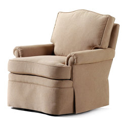 """Jessica Charles - Douglas Swivel Rocker - Harbin Toast Fabric - Handmade in North Carolina using local, sustainable hardwood.  Artisan upholstery and custom fit cushions.  Eight-way hand tied coils.  Spring Plush seat cushion consists of a Marshall unit core made of individually pocketed coil springs surrounded by an ultracell foam box which is then completely wrapped in a thick layer of comfort bond fiber and covered in ticking.  Back cushion is made up of 2"""" hollow polyester fibers that are siliconized to cut down on friction between fibers, thus reducing clumping and matting.  Arm caps included."""