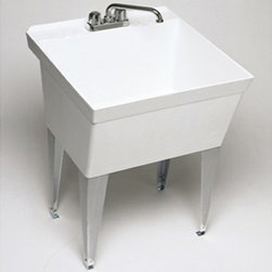 SWAN - SWAN MF10000FM.001 Single Basin Floor Mount Utility Sink - MF10000FM.001 - Shop for Commercial Laundry and Utility from Hayneedle.com! The SWAN MF10000FM.001 Single Basin Floor Mount Utility Sink is a simple free-standing unit that provides convenience to your cramped laundry room. Featuring a sturdy Veritek basin the unit is support by sturdy angular steel legs and features a maximum capacity of 22-gallons. The molded-in washboard comes pre-drilled for a 4-inch center faucet (not included). The unit has a natural white finish meaning with no enamel to chip or scratch the bowl will always look pristine.About Trumbull IndustriesFounded in 1922 as a single branch plumbing supply house Trumball Industries has evolved over the years in to a privately held corporation and full-line distributor with specialized divisions. With 6 branch locations Trumball Industries has several divisions: an Industrial Division that provides products and services to industrial manufacturers a Home Center Division that offers expertise in all major kitchen and bath products a Municipal Division that offers a full line of water and sewer products and a Master Distribution Center with 500 000 square feet housing over 80 000 products. Aside from providing quality services to their customers the people at Trumbull Industries are happy provide a tour of any of their facilities as well as assist you with any design layout or purchasing decisions.