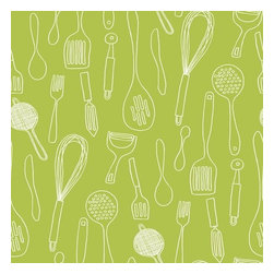 """York Wallcoverings - York Wallcoverings KB8600 Kitchen Contours Silhouettes Wallpaper - Medium to large sized graphic outline forms of utensils and kitchen implements float against a palette of current color brights, forming a festive upbeat pattern toss. Use this pattern in one of its many colors alone for a clean modern approach to kitchen decorating. Also perfect for accent walls and compliments patterns KB8582-KB8585. One measure of good fun; a dash of retro revival; sprinkle in today�s color palette-Blend to taste!Features:Prepasted: Paste has already been applied to the back of the wallpaper and is activated with water.Washable: May occasionally be cleaned by sponging with soap and warm water. Great for living rooms and bedrooms.Strippable: Easy to remove. Can be pulled off your wall in one piece without any wetting treatments or steamers.Design Match: Straight - Pattern match starts over at the ceiling line and follows straight across the wallpaper panels.Packaged and sold as a double rollMade in the USASpecifications:Design Repeat: 20.5""""Double Roll Dimensions: 20.5 Inches x 33 Feet = 56 Square FeetLength: 396""""Width: 20.5"""""""