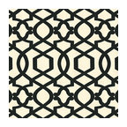 Black Velvet Flocked Trellis Fabric - Black velvet flocked trellis in on cream cotton that adds subtle texture & warmth to your room.Recover your chair. Upholster a wall. Create a framed piece of art. Sew your own home accent. Whatever your decorating project, Loom's gorgeous, designer fabrics by the yard are up to the challenge!