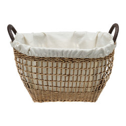 Baskets & Organizers - This delicately woven wicker basket is as much decorative as it is a sturdy workhorse. Use it with or without the cotton liner. The handles are covered in braided genuine leather making this a classy piece.