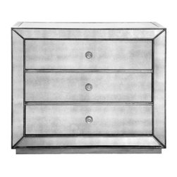 Z Gallerie - Omni Mirrored 3 Drawer Hall Chest - Our Omni Collection demonstrates a striking use of style and restraint. While elegantly reflecting its surroundings this functional collection combines glamour with purpose. The clean lines of the cases are outlined in a hand applied silver leaf and silver beaded trim while the drawers are accented with a brushed silver hardware.
