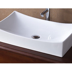 Ronbow - Ronbow  200032-WH - Ronbow Ceramic Rectangle Vessel without Overflow - 200032-WH