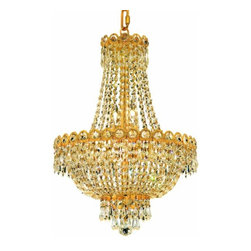 "PWG Lighting / Lighting By Pecaso - Agathe 8-Light 16"" Crystal Chandelier 1615D16G-EC - This classical Agathe Crystal Chandelier with flowing symmetrical shape and nearly invisible frame offers a striking surge of brilliant light. Sconces and ceiling mounts enhance your room decor."