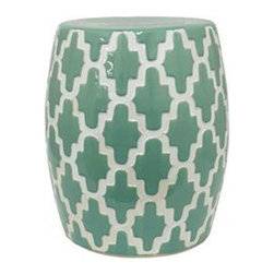 Boho Tile Stool in Green - Not a piece to hide under a table, the Boho Tile Stool has all-around style that's meant to be seen. Use it as extra seating or as a surface to stack books, papers, or place indoor plants.
