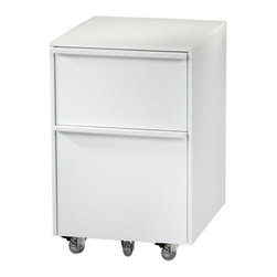 BDI - Cascadia Mobile File Pedestal 6207, White - Adaptable and sleek, the Cascadia Mobile File 6201 by BDI can meet all your office storage needs. It is mobile with transparent wheels. Two drawers allow you to organize files and other office necessities. Four color options to choose from.