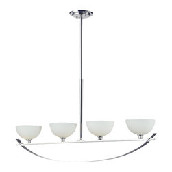 Four Light Chrome Matte Opal Glass Island Light - With a stunning chrome arch, this four light fixture is a masterpiece of contemporary design. Matte opal shades create a soft modern glow, while the beautiful chrome detailing makes for a bold and cutting edge statement. Adjustable telescoping rods are included to ensure the perfect height for hanging.