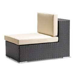 Zuo Modern - Zuo Cartagena Middle in Espresso - Middle in Espresso belongs to Cartagena Collection by Zuo Modern One of Zuo's favorite. Enjoy perfect seating and comfort, while the design, looks and style create a perfect ambiance for a relaxing evening or a fun party. The Cartagena collection is a modular outdoor set, capable of seating a sectional, loveseat, armchair and coffee table. The frames are constructed from epoxy coated aluminum and the weave from UV treated polypropylene for maximum resistance against the weather elements. The Table has a 10 mm thick clear tempered glass top, and the cushions are made with a UV and moisture resistant washable polyester fabric. The Cartagena has the looks and comfort that gives your patio, terrace, porch or backyard a contemporary and elegant look. Don't forget to accentuate your Cartagena with some colorful Laguna cushions. Middle (1)