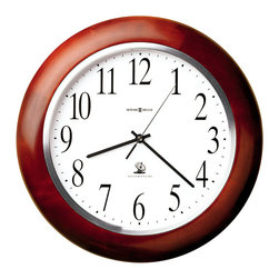 "Howard Miller - Howard Miller - Murrow Wall Clock - Here is a clean and rich hardwood and veneer wall clock with a Windsor cherry finish. It features a satin silver bezel and a white dial, with black Arabic numerals. The simple styling is complimented by the Accuwave radio control feature, which automatically sets the time and adjusts for Daylight Savings time. * This Accuwave DST wall clock features a satin silver bezel. . White dial features black Arabic numerals. . Finished in Windsor Cherry on select hardwoods and veneers. . Radio controlled, battery operated movement. . D. 1-3/4"" (5 cm). Dia. 13-3/4"" (36 cm)"