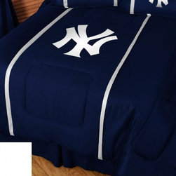 Sports Coverage - MLB New York Yankees Sidelines Bedding - Comforter - Twin - MLB New York Yankees Sideline Comforter looks and feels like a real jersey! A must have for any true fan. New Design - Same great quality! Show your team spirit with this great looking officially licensed Comforter which comes in a new design with sidelines. This Comforter is made from 100% Polyester Jersey Mesh - just like what the players wear. The fill is 100% Polyester batting for warmth and comfort. Each comforter has the authentic team logo screen printed in the center. Each comforter has the team logo centered on solid background in team colors. 5.5 oz. Bonded polyester batts. Looks and feels like a real jersey!   Features:  - 100% Polyester Jersey top side,   - Poly/Cotton bottom side,   - Filled with 100% Polyester Batting,   - Logos are screenprinted ,   - Machine washable in warm water,   -  Tumble dry on low heat. ,