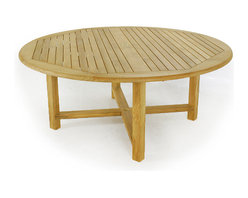 Westminster Teak Furniture - Buckingham Premium 6ft Round Teak Picnic Table Set - Those lazy days of summer will snap to attention with a Buckingham Backless Bench Picnic Set. This teak outdoor picnic set is refined through exacting craftsmanship, a sophisticated profile and generous proportions. The backless benches offer freedom of access without disturbing neighboring diners.