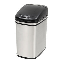 Nine Stars - Nine Stars 7.9-gallon Stainless Steel Motion Sensor Trashcan - This stainless steel, motion-sensor trashcan is ideal for use in the kitchen or bathroom. The infrared motion detector range identifies movement, and the trashcan automatically opens so you can throw away your garbage hassle-free while staying clean.